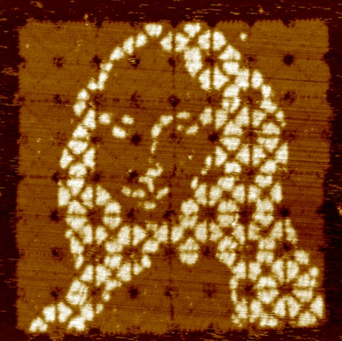 The Mona Lisa - as formed by self-assembling inter-weaving DNA strands